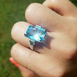 Huge Statement Silver Blue Topaz Ring